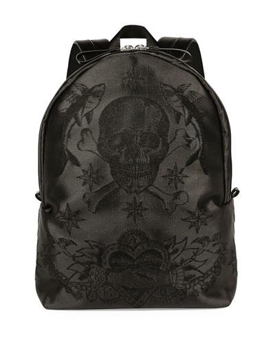 Sailor Skull-Printed Backpack, Black