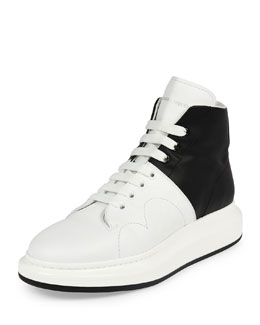 Colorblock Leather High-Top Sneaker, Black/White