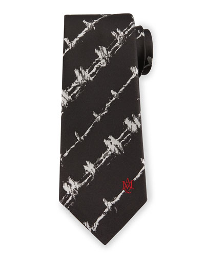 Barbed Wire Print Silk Tie, White/Black