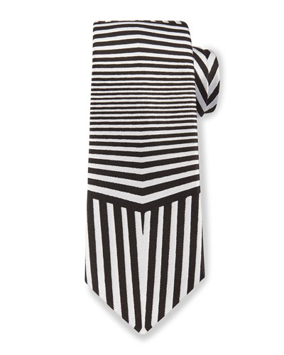 Dazzle Multi-Striped Silk Tie, Black/White