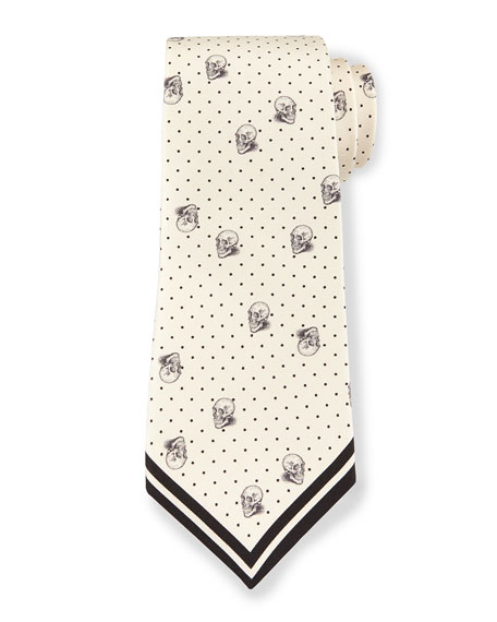 Skull & Pin-Dot Printed Silk Tie, Cream/Black