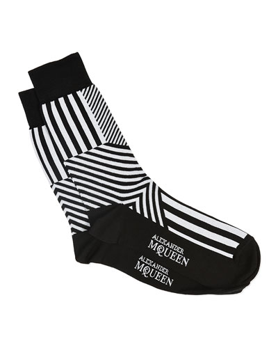 Dazzle Multi-Stripe Socks, Black/White