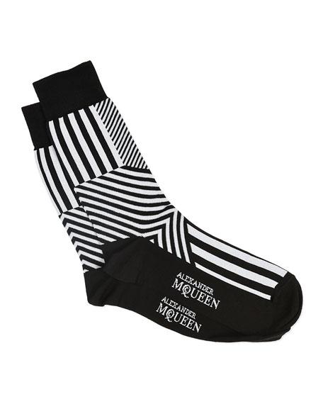 Dazzle Multi-Stripe Socks, Black/White