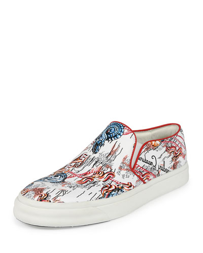 Legendary Creature Printed Leather Sneaker, White