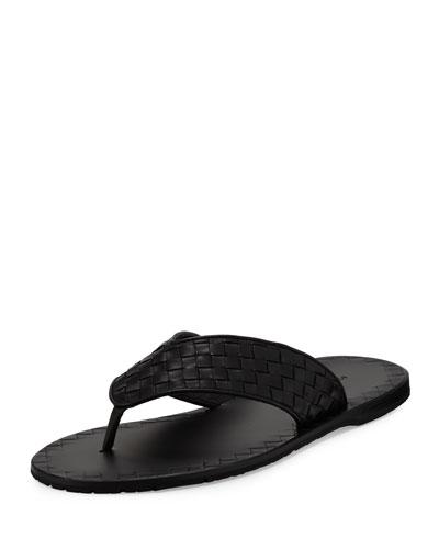 Woven Leather Flip-Flop Sandal, Black