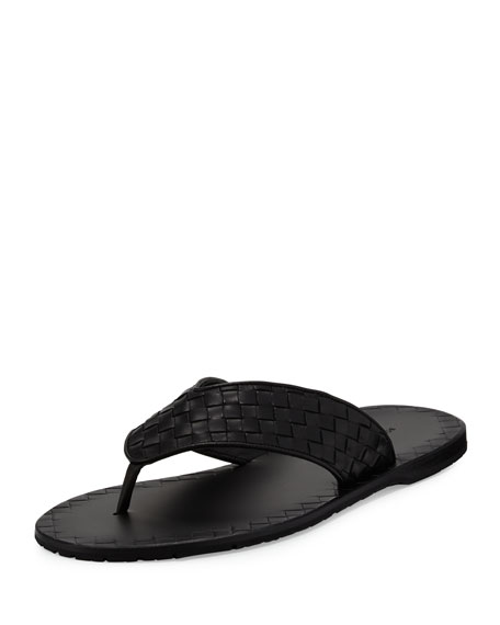 Woven Leather Flip-Flop Sandal, Black