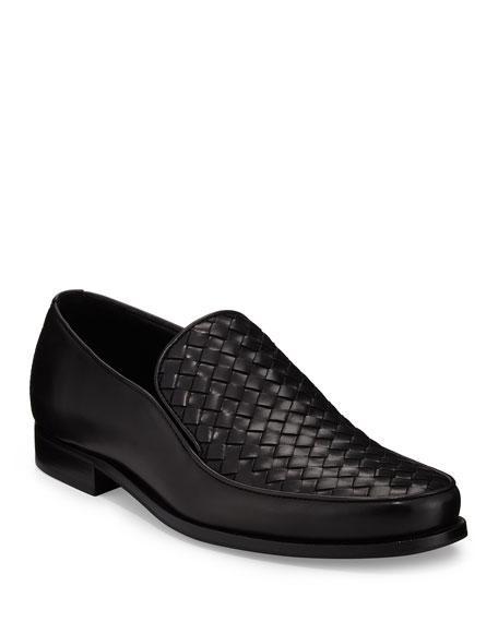 Bottega Veneta Woven Leather Loafer, Black