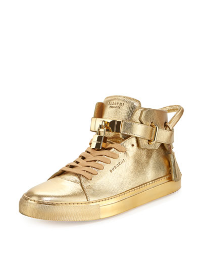 100mm Metallic High-Top Sneaker, Gold