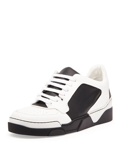 Tyson Leather Low-Top Sneaker, Black/White