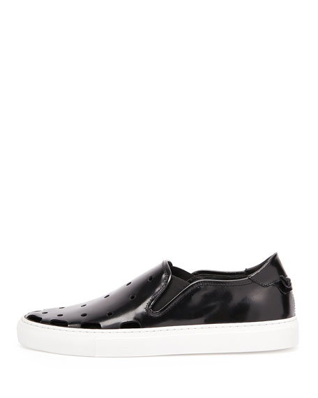 Perforated Leather Skate Shoe, Black