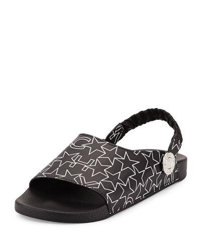 Star Slingback Rubber Sandals, Blue