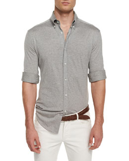 Long-Sleeve Pique-Knit Shirt, Charcoal