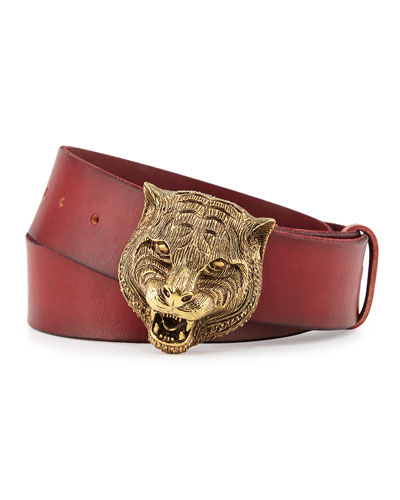 Men's Leather Belt with Tiger Buckle