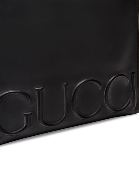 Men's XL Leather Tote Bag, Black