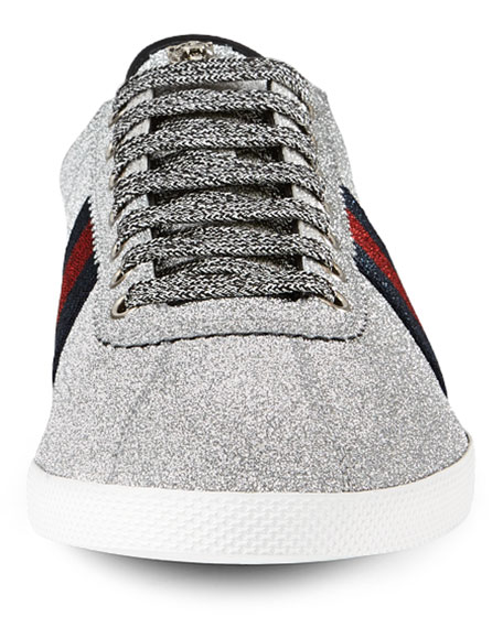 Bambi Web Low-Top Sneaker with Stud Detail, Silver