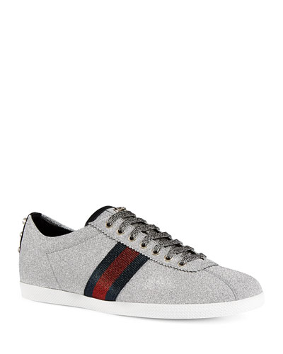Men's Glitter Web Sneaker with Stud Detail, Silver