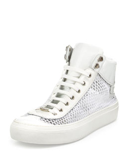 Argyle Men's Netted-Mesh Leather High-Top Sneaker, White