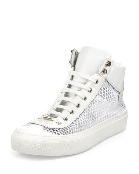 Jimmy Choo Argyle Men's Netted-Mesh Leather High-Top Sneaker,