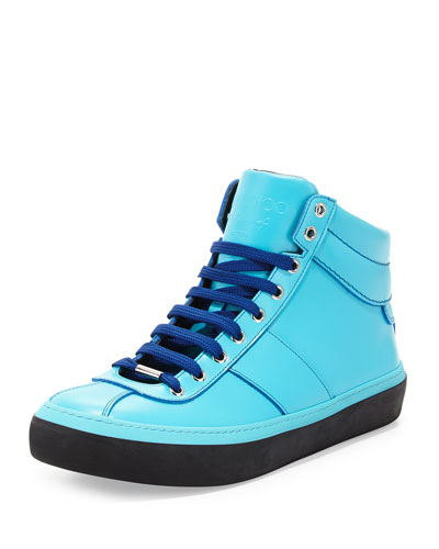 Malibu Blue Leather High-Top Sneaker, Blue
