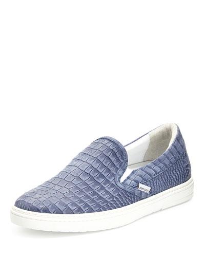 Grove Men's Crocodile-Embossed Slip-On Sneaker, Blue