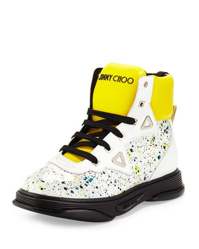 Galaxy Paint-Splatter Leather High-Top Sneaker, White