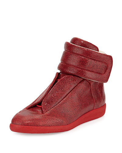 Future Printed Leather High-Top Sneaker, Red