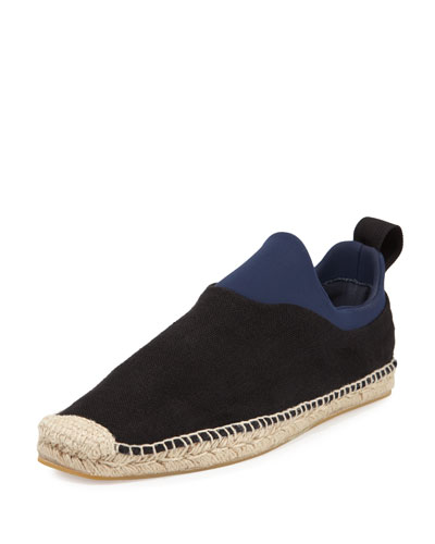Canvas Espadrille with Neoprene Inset, Black/Blue