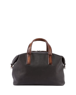 Horizon Grain Leather Duffel Bag, Black