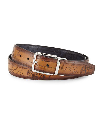Reversible Scripto Leather Belt, Black/Brown