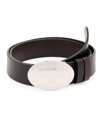 Oval Logo Leather Belt, Black/Brown