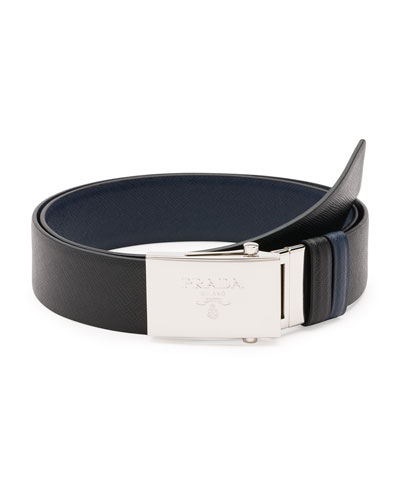 Reversible Saffiano Leather Plaque Belt, Black/Blue