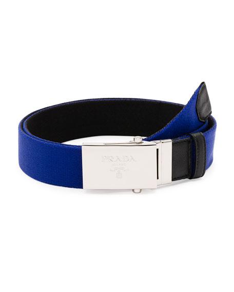 Reversible Plaque Belt, Blue/Black