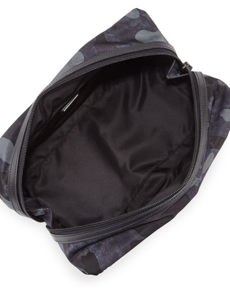 Camo-Print Nylon Toiletry Kit, Blue
