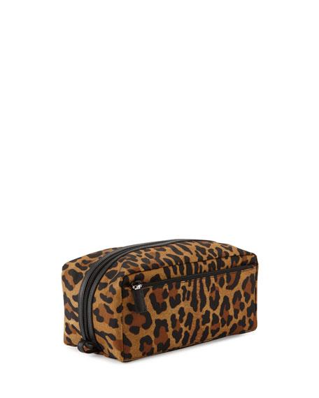 Leopard-Print Nylon Toiletry Kit, Tan