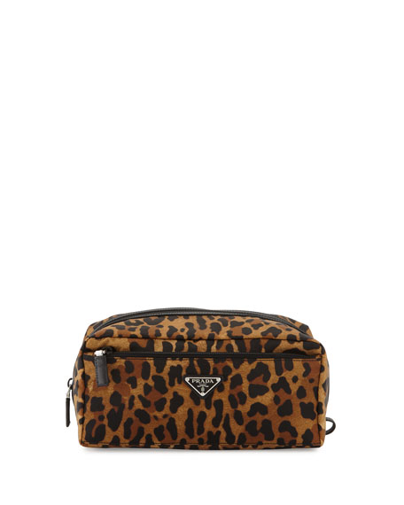 Leopard-Print Nylon Toiletry Kit, Tan