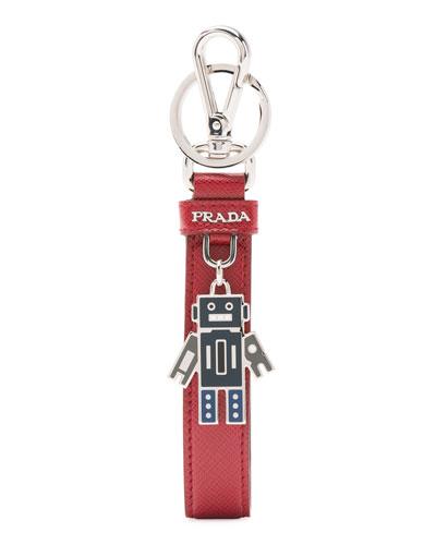 Saffiano Robot Charm Key Chain