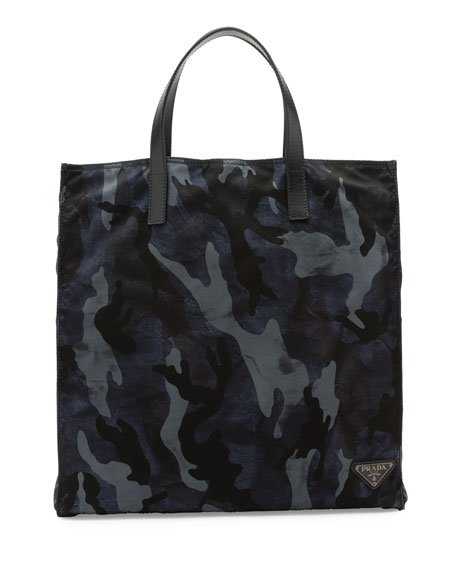 Camo-Print Nylon Tote Bag, Blue