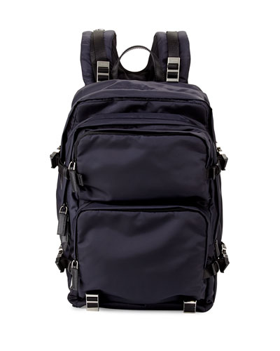 Multi-Pocket Nylon Backpack, Navy