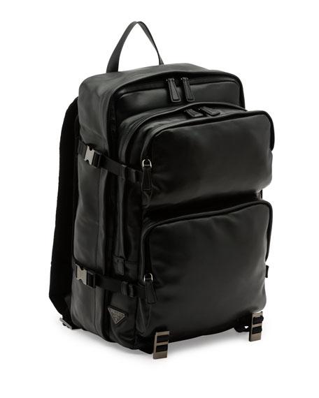 Utilitarian Leather Backpack, Black