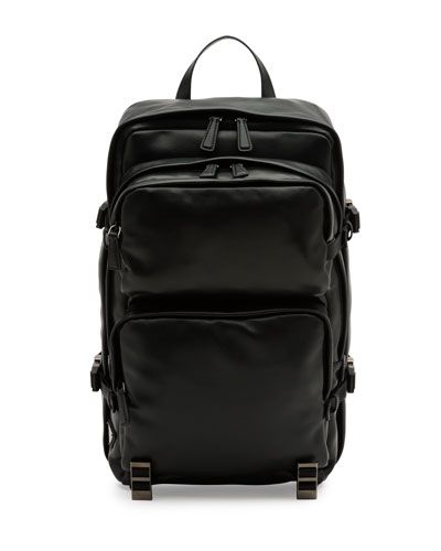 Utilitarian Leather Backpack, Black