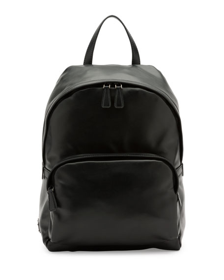 Soft Leather Backpack, Black (Nero)