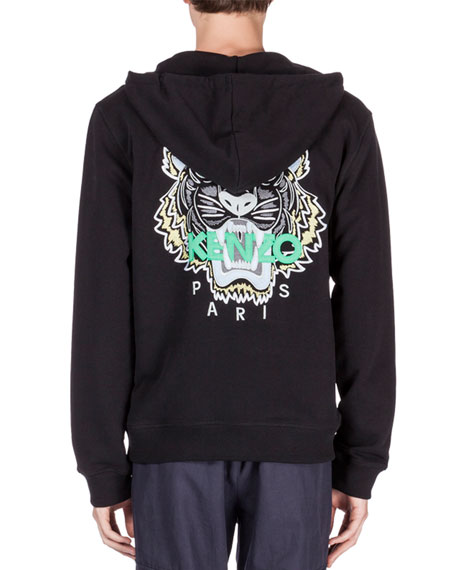 1f744083 Zip-Up Hoodie with Embroidered Tiger Icon Black