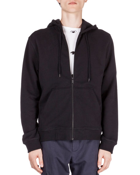 94947122 Zip-Up Hoodie with Embroidered Tiger Icon Black