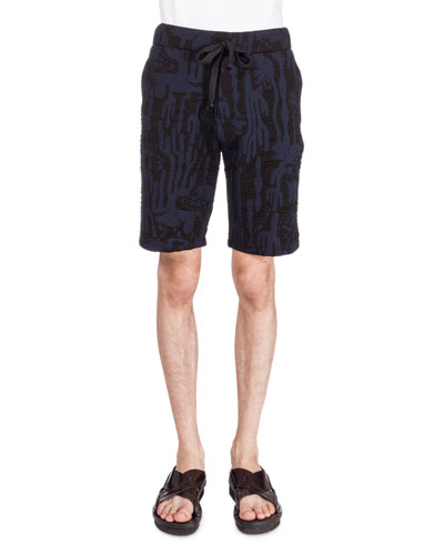 Textured Drawstring Sweat Shorts, Black