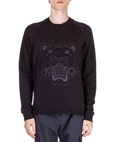 Embroidered Tonal Tiger Icon Sweatshirt, Black
