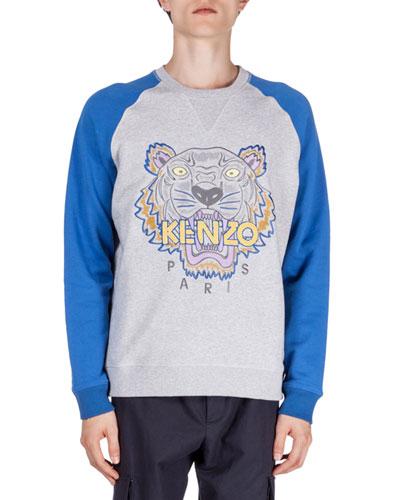 Tiger Icon Crewneck Baseball Sweatshirt, Gray/Blue