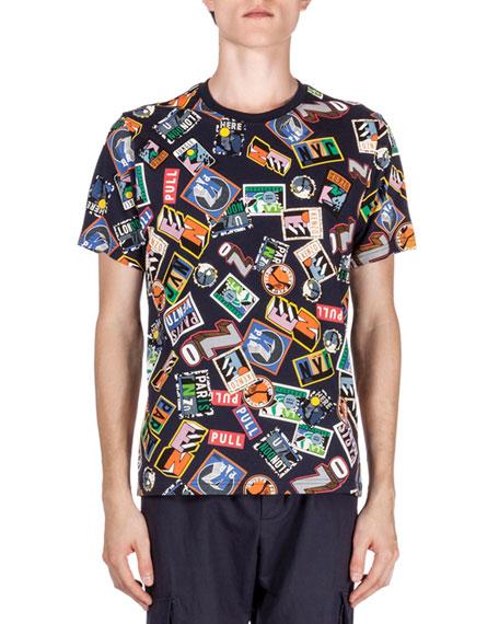 Multi-Stamp Print Short-Sleeve T-Shirt, Navy