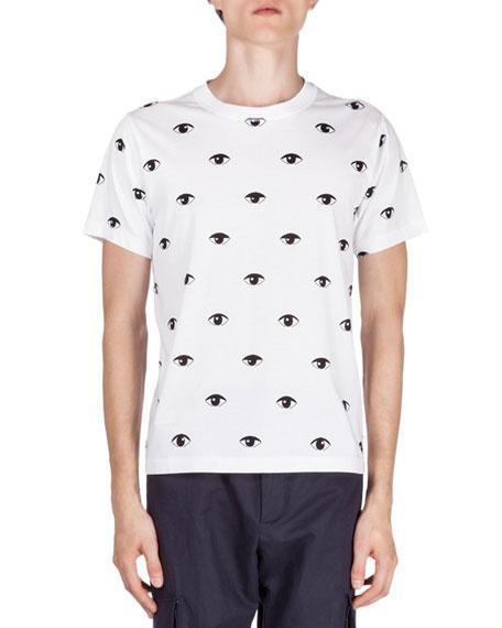 792efa59a8de Kenzo Allover Eye-Print Short-Sleeve T-Shirt, White