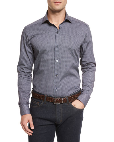 Micro-Print Long-Sleeve Sport Shirt, Navy
