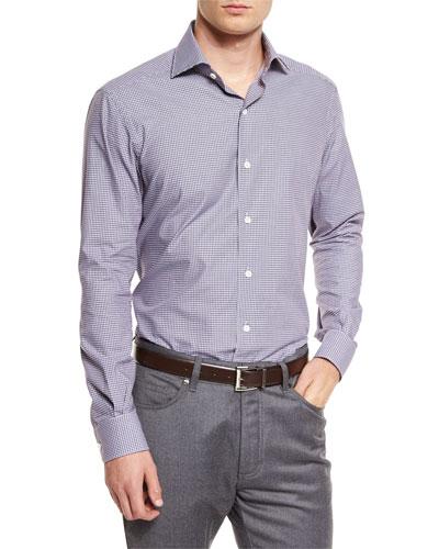 Micro-Check Long-Sleeve Sport Shirt, Brown